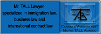 Mr. TALL: Lawyer specialized in immigration law, business law and international contract law